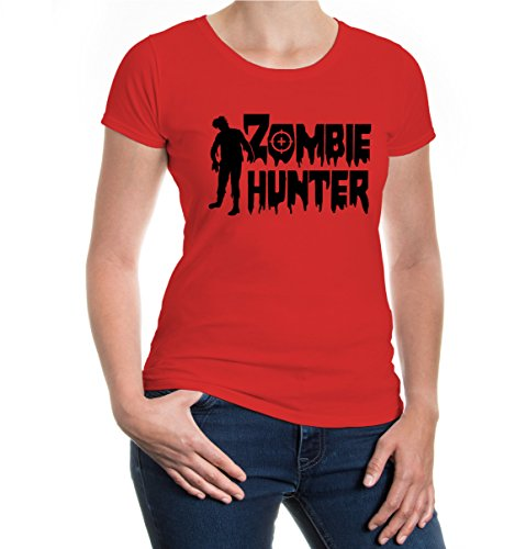 buXsbaum® Girlie T-Shirt Zombie Hunter Red-Black