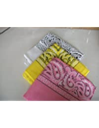 Three Pack Paisley Design Bandanas white yellow pink. fast post