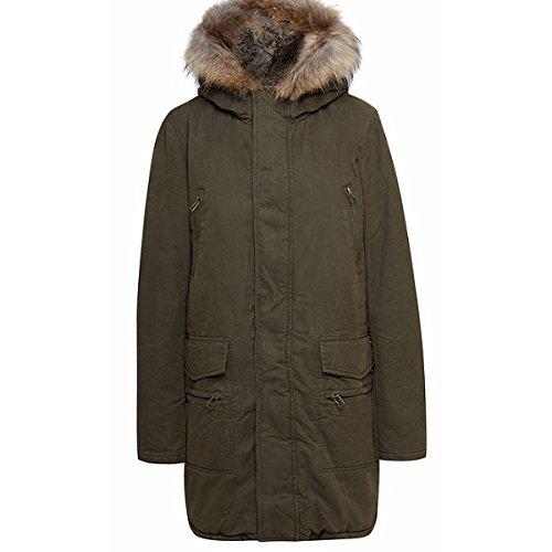 IQ + berlin-4157-Giacca Parka con cappuccio con vera pelliccia 45-olive XX-Large
