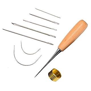 7 Stück Gebogene Polster Hand Nähnadeln mit Bohr Ahle und Fingerhut für Leder Reparatur