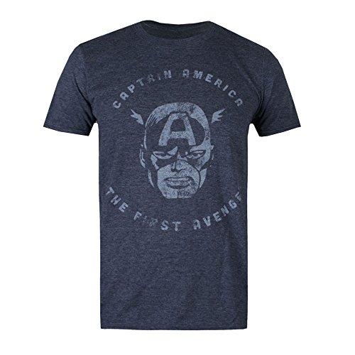 Marvel Herren T-Shirt First Avenger Blue (Heather Navy)