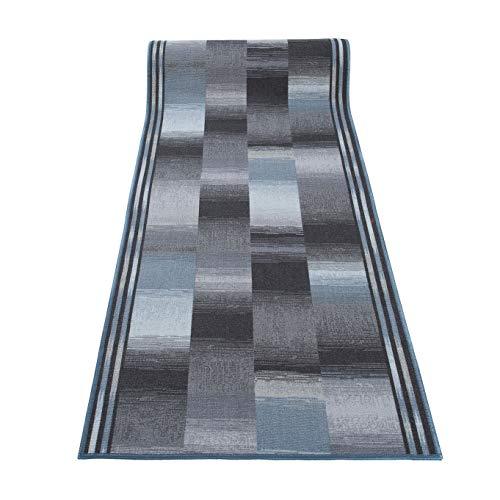 eppich Läufer Rutschfest Meterware Modern Brücke Grau Schwarz Blau Meliert Vierecke Karo Design Flur Küche Korridor 80 x 320 cm ()