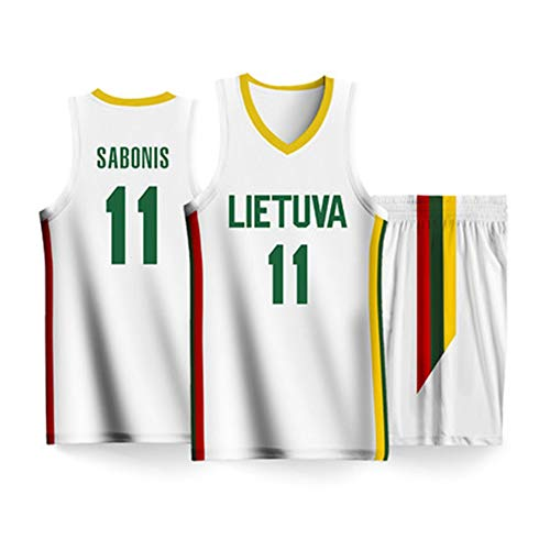 HS-XP Arvydas Sabonis # 11 Litauen Team-Basketballtrikots, Basketball-Swingman-Trikot, zweiteiliges Trägershirt-Set, Basketball-Weltmeisterschaft 2019,2XL(185~190) cm
