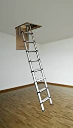 Youngman 301001 Telescopic Loft Ladder Aluminium 2.9 Metres / 9.51 Feet, Silver, 86.8 x 47.8 x 12.6 cm