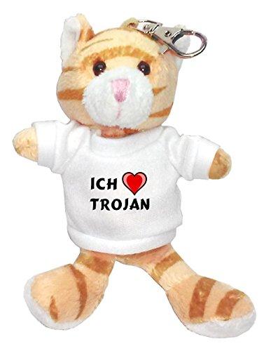 plsch-braun-katze-schlsselhalter-mit-t-shirt-mit-aufschrift-ich-liebe-trojan-vorname-zuname-spitznam