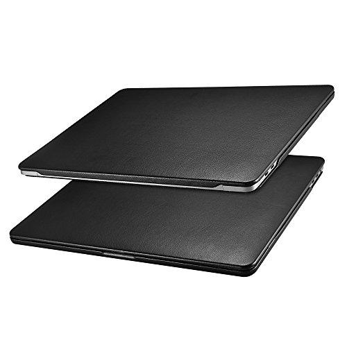 MacBook Pro 15 Hülle Lederhülle, Icarer Ultra Slim Ledertasche Vintage Handytasche Leder Hülle Case Cover für Apple MacBook Pro 15 Zoll mit Retina Display(Model: A1707/A1990 2016&2017&2018) (Schwarz)