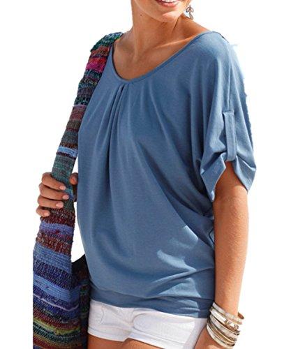 EMIN Damen Shirt Sexy Rundhals Lose Top Bluse T-shirt Kurzarm Einfach Mehrfarben Hohl Blusen T-Shirt Blau