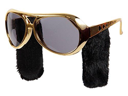 Elvis Brille Partybrille 70er Jahre Funbrille mit Koteletten P061/643 Spaßbrille Gold von Alsino (Elvis Brille Mit Koteletten)