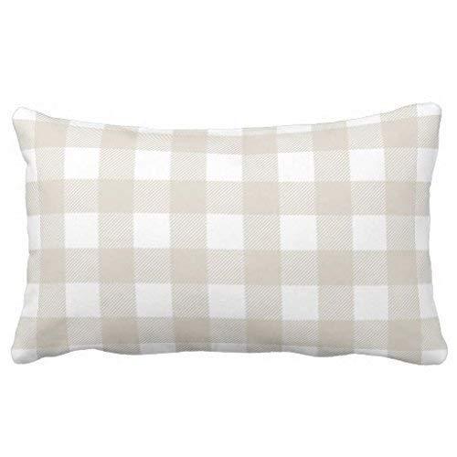 Check-standard Pillow Sham (Standard Pillowcase Decorative Linen Beige Preppy Buffalo Check Plaid King Size Pillow Sham 20X30inches)