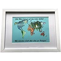 Geldgeschenk mit Ihrem / meinem Text auf der Weltkarte im Bilderrahmen