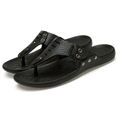 SHANGXIAN Herren Leder Slip Sandalen Flip-Flop Black