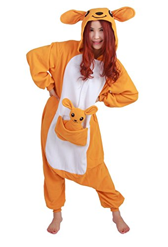 er Siamesische Kleidung Pyjamas Känguruh Jumpsuit Cartoon Cosplay Outfit M (2 Person, Halloween-kostüme 2017)