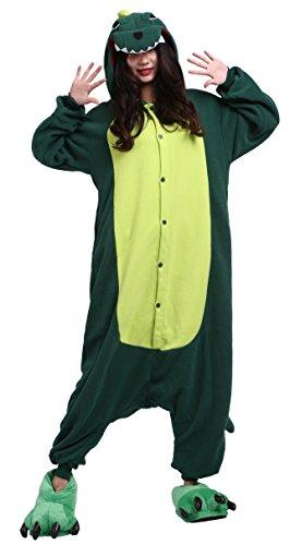 DELEY Unisex Erwachsene Cartoon Grüne Dinosaurier Kapuzen Strampelanzug Cosplay Anime Pyjamas Nachtwäsche M (Für Dinosaurier-strampelanzug Erwachsene)