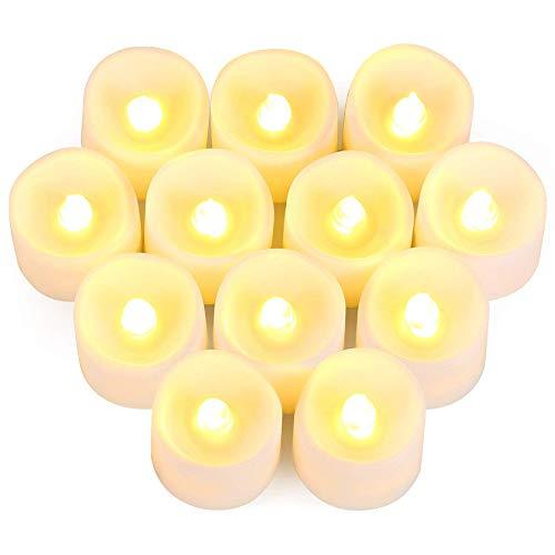 LED Kerzen, Mixigoo 12 LED Flammenlose Teelichter, Flackern Kerzen, Elektrische Kerze Lichter Batterie Warmweiß Dekoration für Halloween, Weihnachten, Party, Hochzeit (Batterien Enthalten)