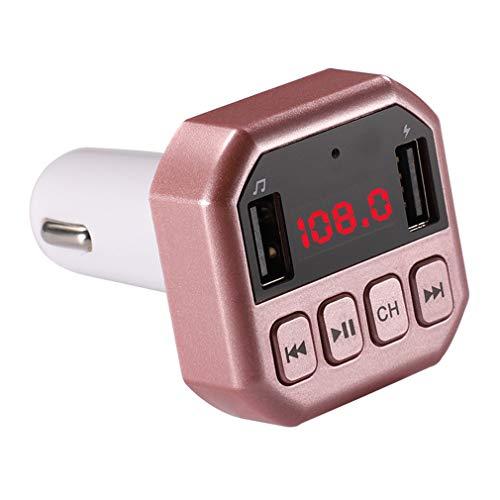 Bluetooth FM Transmitter/kabelloses Autoladegerät/TF-Karte/Bluetooth-Freisprecheinrichtung/Ein-Knopf-Bedienung/Großbild-Display/Musik abspielen/Automatisches Ausschalten,Pink