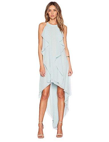PU&PU Robe Aux femmes Ample Simple,Couleur Pleine Col Arrondi Mi-long Polyester BLUE-M