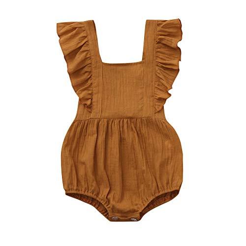 Pwtchenty Einfarbiges GekräUseltes Geraffte Jumpsuit Spielanzug Lang Hosen Overalls MäDchen Baby Sommer Kleidung - Baby-puppe Kleidung Dessous
