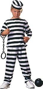 Disfraz de Preso para niño, presidiario a rayas, infantil 3-4 años (Rubie