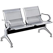 Cablematic - Bancada para sala de espera con sillas ergonómicas plateadas de 2 plazas