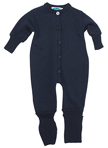 Reiff Baby Overall/Schlafanzug Frottee, 70% Merino-Schurwolle kbT. / 30% Seide (98/104, marineblau)