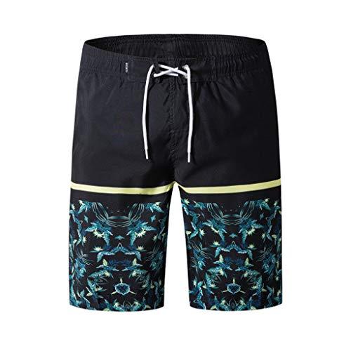 Xmiral Shorts Schwimmen Herren Strand gedruckt Watershort Persönlichkeit Surfen Laufen Schwimmen(3XL,Schwarz)
