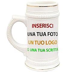 Idea Regalo - BrolloGroup Boccale Birra in Ceramica Personalizzabile PS 13514 Personalizzato con Foto O dediche