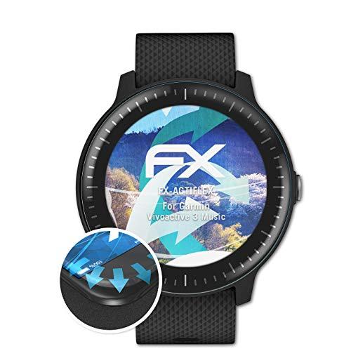 atFoliX Schutzfolie passend für Garmin Vivoactive 3 Music Folie, ultraklare und Flexible FX Displayschutzfolie (3X)