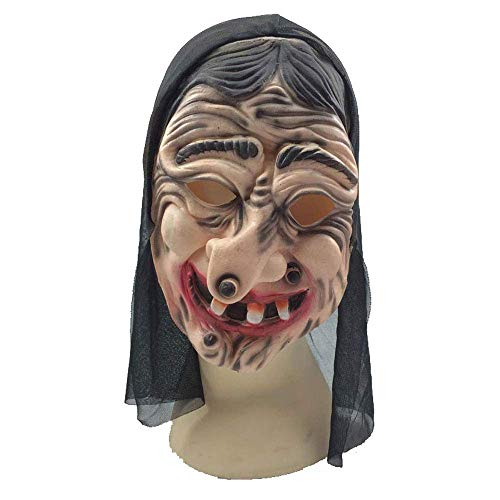 YaPin Halloween Maske Horror Hexe Grimasse Film Requisiten Hexe Schwarz Latex Maske Maskerade Kopfbedeckung