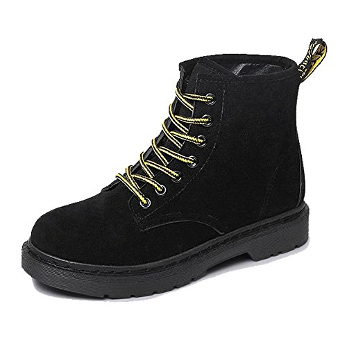 women ankle short martin boots leather suede flat heel winter warm casual shoelace cotton retro shoes . black . 40 Jordan 14 Retro Low