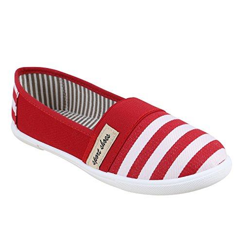 Sportliche Damen Ballerinas | Freizeit Slipper | Bequeme Flats | Stoffschuhe Slip-ons | Sneakers | Denim Prints Glitzer Red Weiss