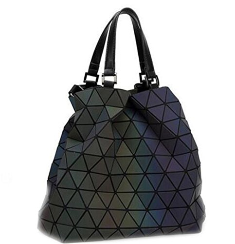 Frauen Baobao Bag Diamond Tote Geometrie gesteppte Schulter Taschen Laser Normalpapier Falten Handtaschen Bolso Baobao leuchtende Große -