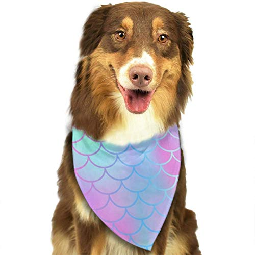 nxnx Colourful Fish Scale Magic Mermaid Tail Dog Bandanas - Washable and Reversible Triangle Cotton Dog Bibs Scarf Assortment Suitable for Puppy Small and Medium - Mermaid Magic Kostüm