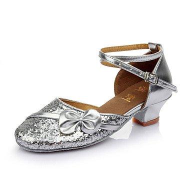 Silence @ Femme Enfants Chaussures de danse latine/Salsa/Samba/piste de danse Paillettes Talon de 3.5cm (Plus de couleur) Rose