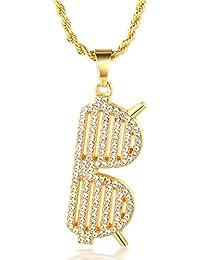 Halukakah Banda Uomo Maschile 18K 18 Carati Placcato Oro Reale Occhiali da  Sole Pendente Diamanti Artificiali Collana con Catena… 5e718b259ac3