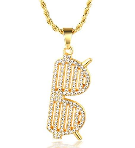 Halukakah ● Bangdit ● Männlich 18k Echt Vergoldet Sonnenbrillen Anhänger Künstliche Diamanten Gesetzt Halskette mit Kostenloser Seil Kette 30