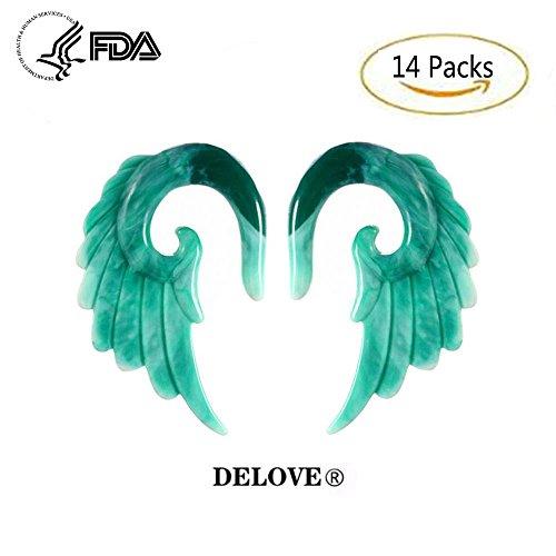 DELOVE 14PCS Acryl Angel Wings Grey Marmor Ohrstöpsel 3MM-12MM + Mischfarben Acryl Spiral Taper Plug Gauge Stretching Kit-Vintage Angel Wings,Green (4 Verjüngt Gauge)