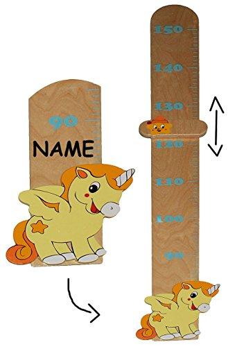Melatte-aus-massiven-Holz-Einhorn-Pferd-incl-Name-Messbereich-von-80-cm-bis-150-cm-fr-Kinder-Messlatte-Kindermelatte-Meleiste-Mdchen-Jungen-Einhrner-Tiere-Kinderzimmer-Holzmelatte-Kind-Tier-Tiere