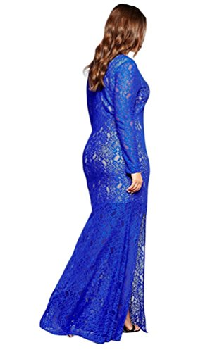 Ghope Femmes Grande Taille Col V Manche Longue Maxi Dentelle Robe de Soirée Cérémonie mariage Taille EU44-EU54 Bleu