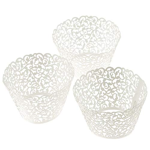 elenker TM 120 NEW Little Vine Lace Laser Cut Filigran Cupcake Wrapper-Liner Backförmchen Muffin Fall Tabletts Hochzeit Geburtstag Party Dekoration 120Pcs Laser-cut-tray