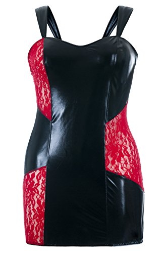 Schwarzes Wetlook Chemise transparent mit roter Spitze Damen Negligee XXL Plus Size Schwarz/Rot