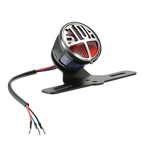 HermosaUKnight Feux arrière de Moto Plaque d'immatriculation arrière Frein feu arrière Stop Lampe en Marche-Noir