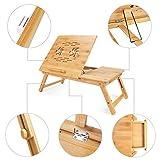 Todeco - Table Portable pour Ordinateur, Plateau de Lit Pliable - Matériau: Bambou -...