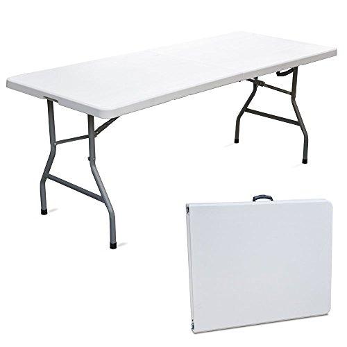 Tavolo tavolino pieghevole set birreria in dura resina 183x76xh72 cm per sagra campeggio fiera casa da giardino