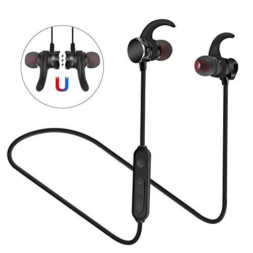 Bluetooth Kopfhörer 4.1 Sport In Ear, Rusee Kabellos Magnetisch Headset mit Mikrofon Schweißfest Sportkopfhörer Jogging Fitness Workout Stereo Ohrhörer für iPhone iPad Samsung oder Bluetooth-Gerät