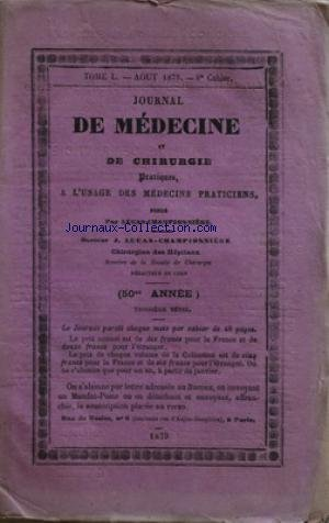 JOURNAL DE MEDECINE ET DE CHIRURGIE [No 8] du 01/08/1879