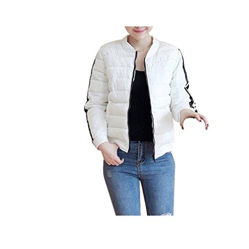 Koly _Casuale incappucciato spesso strato Parka cappotto (XL, bianca )