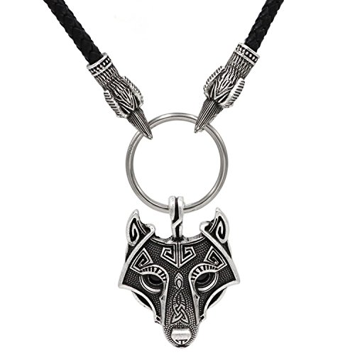 3D Raben Kopf Viking Odin Kopf Wolf Anhänger Halskette slawischen Schmuck, nordischen Mythologie, Viking Geschenk Tasche Leder