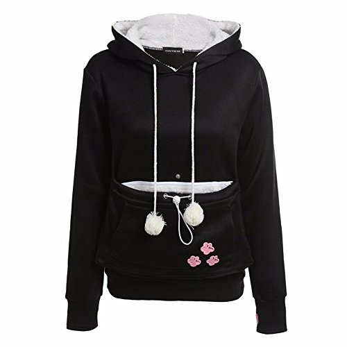 Newbestyle Kapuzenpullover Damen Pulli Pullover Sweatshirt mit Känguru Katze Hund Tasche Top Hoodies Schwarz XX-Large (Xx Kleine Hund Kleidung)