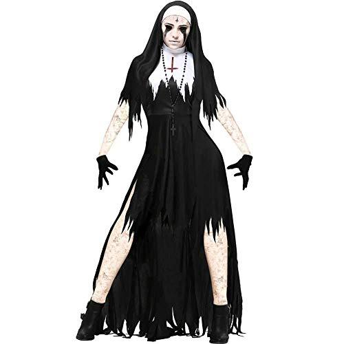 GWNJSSX Halloween Kostüm,Erwachsene Sexy Dämon Evil Nonne Kleid Hut Handschuhe and Halskette (Sexy Dinosaurier Kostüm)