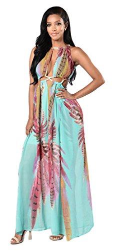 Femmes Sexy Boho Impression Floral Robe de plage en mousseline de soie Irrégulière robe de Clubwear 2 #